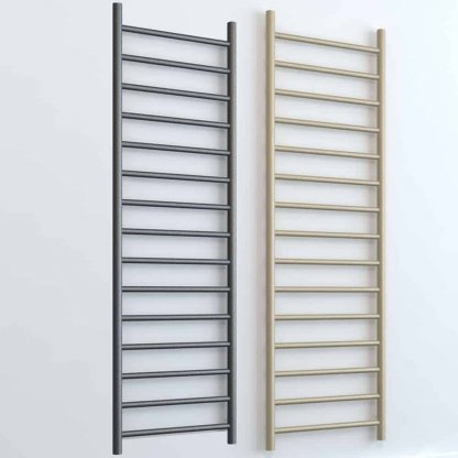Aura Ronda Round Tube Towel Warmer - Central Heating (Grey / Beach). A Modern, Designer Towel Warmer. Small, Medium Or Large Size. Buy Online, UK Shop.