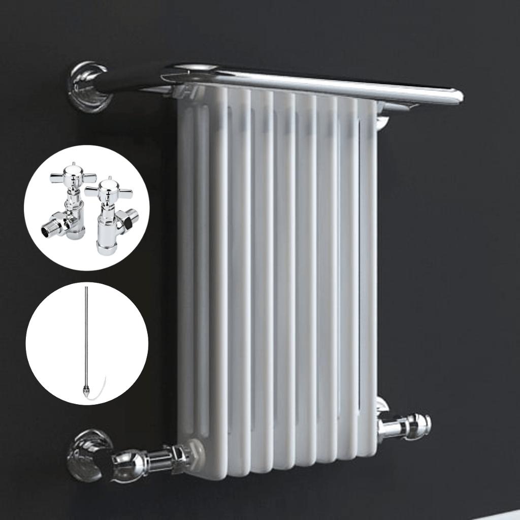Aura 25 Curved Electric Towel Warmer Chrome White: Aura Pax Traditional Dual Fuel Towel Warmer (White / Grey