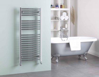 Aura 25 Straight Electric Towel Warmer. Thermostatic With Timer (Chrome)
