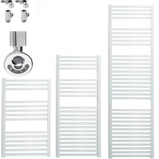 Aura 25 Straight Duel Fuel Towel Warmer. Thermostatic With Timer (White)