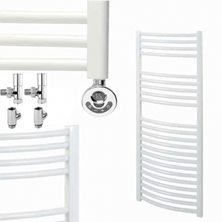 Aura 25 Curved Duel Fuel Towel Warmer. Thermostatic With Timer (White)