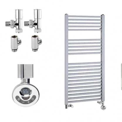 Aura Cube Square Tube Dual Fuel Towel Warmer. Thermostatic With Timer (Chrome)