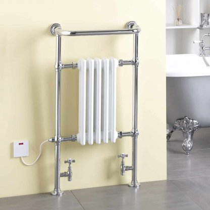 Aura Rex Traditional Dual Fuel Towel Warmer (White / Black)