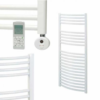 Aura 25 R2 Curved White Heated Towel Rail, Thermostatic Electric + Timer