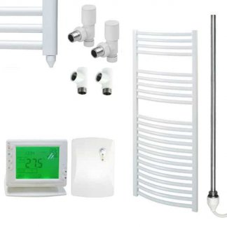 Aura 25 Curved Heated Towel Rail, White - Dual Fuel + Wireless Timer, Thermostat