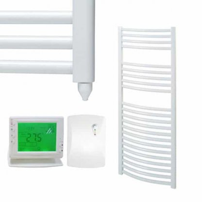 Aura 25 Curved Heated Towel Rail, White - Electric + Wireless Timer, Thermostat