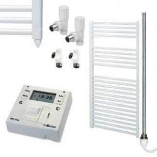 Aura 25 Straight Heated Towel Rail, White - Dual Fuel + Fused Spur Timer