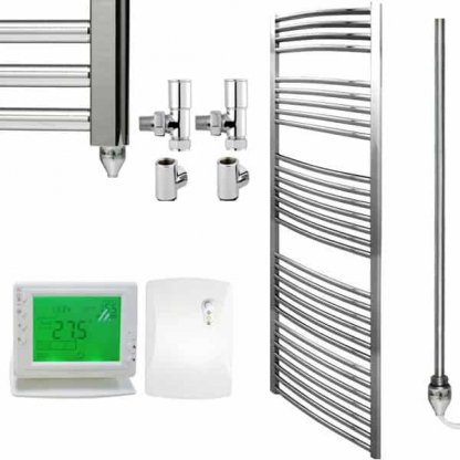 Aura 25 Straight Heated Towel Rail, Chrome - Dual Fuel + Wireless Timer, Thermostat