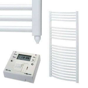 Aura 25 Curved Heated Towel Rail, White - Electric + Fused Spur Timer
