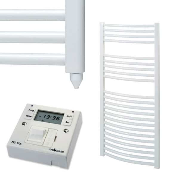Aura 25 curved heated towel rail white electric fused - Electric bathroom radiators with timer ...