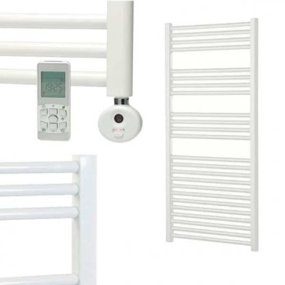 Aura 25 R2 Straight White Heated Towel Rail, Thermostatic Electric + Timer