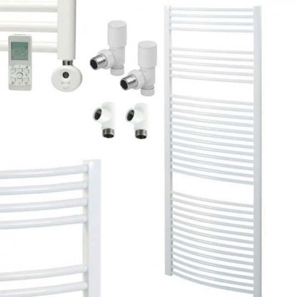 Aura 25 R2 Curved White Heated Towel Rail, Thermostatic Dual Fuel + Timer