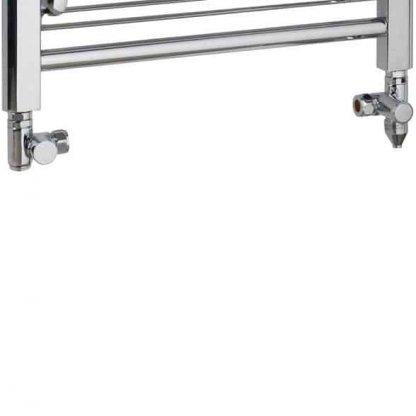 Aura Ronda Modern Heated Towel Rail, Chrome - Dual Fuel + Fused Spur Timer