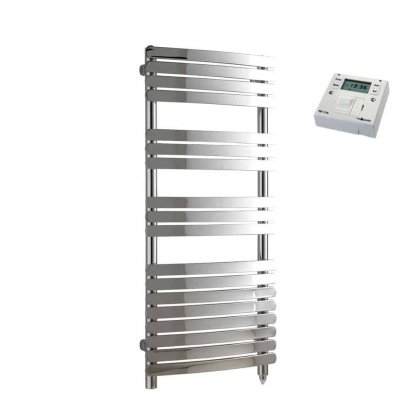 Aura Curve Flat Tube Heated Towel Rail, Chrome - Electric + Fused Spur Timer