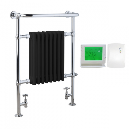 Aura Rex Traditional Victorian Heated Towel Rail - Electric + Wireless Timer, Thermostat