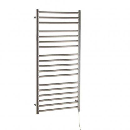 Aura Steel Stainless Steel Heated Towel Rail - Electric + Wireless Timer, Thermostat