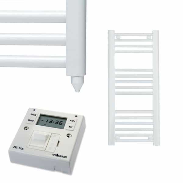 Aura 25 Straight Heated Towel Rail, White – Electric + Fused Spur Timer 1