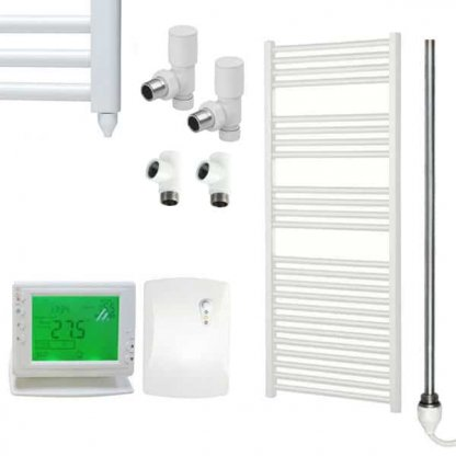 Aura 25 Straight Heated Towel Rail, White - Dual Fuel + Wireless Timer, Thermostat