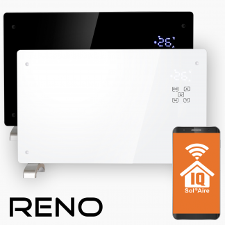 Reno Wifi Glass Smart Electric Radiator, Wall Mounted or Portable Convector Radiator