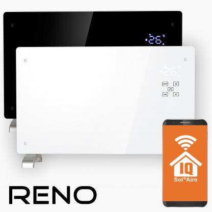 Reno Wifi Glass Smart Electric Radiator, Wall Mounted or Portable Convector Radiator