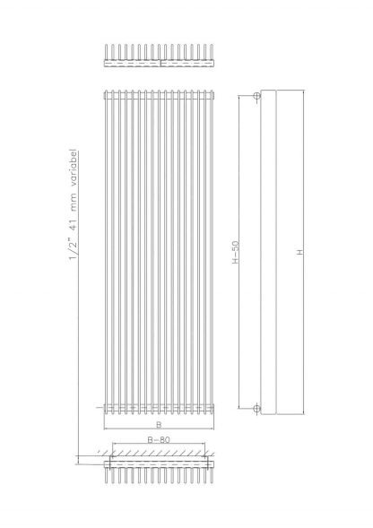 Eucotherm Atlas Side Flat Panel Modern Vertical Radiator, Tall - Central Heating