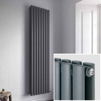 Eucotherm Nova DUO Double Modern Vertical Oval Tube Radiator, Tall - Central Heating