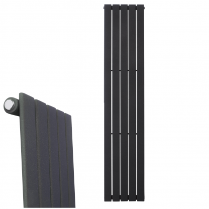 Aura Heat Vertical Flat Panel Designer Radiator For Central Heating - Lava Grey / Anthracite With Closeup