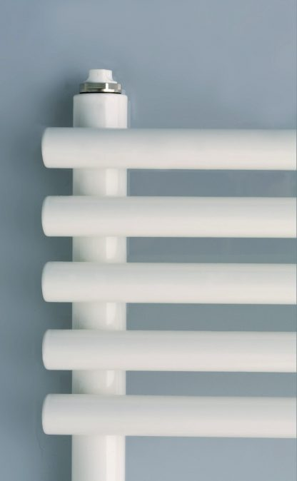 Eucotherm Fontanus Tube On Tube Straight Heated Towel Rail / Warmer, White - Central Heating