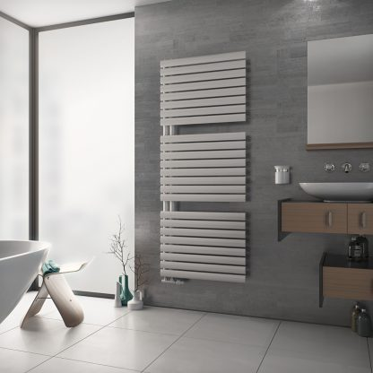 Eucotherm Nova Trium PRIME Oval Tube Modern Heated Towel Rail / Warmer, White - Central Heating