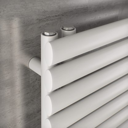 Eucotherm Nova Trium Oval Tube Modern Heated Towel Rail / Warmer, White - Central Heating