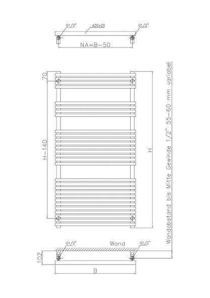 Eucotherm Kalido Triangle Tube Modern Vertical Heated Towel Rail / Warmer - Central Heating