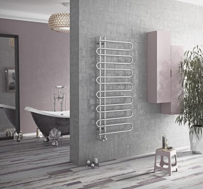 Eucotherm Mamba Snake Round Bar Modern Heated Towel Rail / Warmer, Chrome - Central Heating