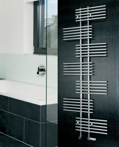 Eucotherm Parallel Side Arm Round Tube Modern Heated Towel Rail / Warmer - Central Heating