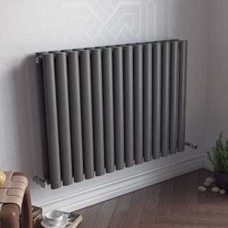 Eucotherm Nova LOW Double Modern Horizontal Oval Tube Radiator, Wide - Central Heating