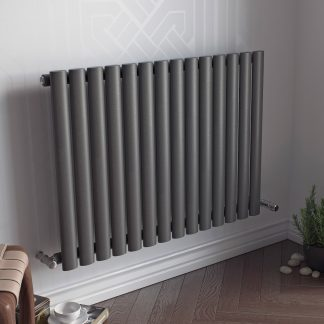 Eucotherm Nova LOW Single Modern Horizontal Oval Tube Radiator, Wide - Central Heating