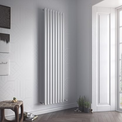 Eucotherm Nova SINGLE MIRROR Oval Tube Radiator, Modern, Vertical, Tall - Central Heating