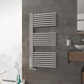 Eucotherm Ceres Side Arm Chrome Heated Towel Rail / Warmer - Central Heating