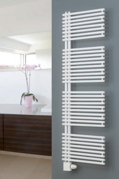 Eucotherm Ceres Side Arm White Heated Towel Rail / Warmer - Central Heating