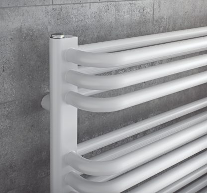 Eucotherm Magnus Tube On Tube Curved Modern Heated Towel Rail / Warmer, White - Central Heating