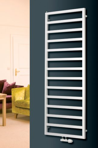 Eucotherm Sidus Square Tube Modern Heated Towel Rail / Warmer, White - Central Heating