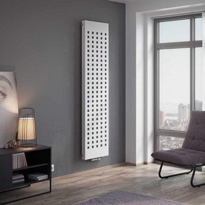 Eucotherm Buca Square Pattern Flat Panel Modern Vertical Radiator, Tall - Central Heating