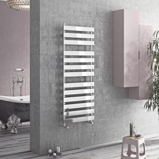 Eucotherm Tower Flat Panel Modern Heated Towel Rail / Warmer, Chrome - Central Heating