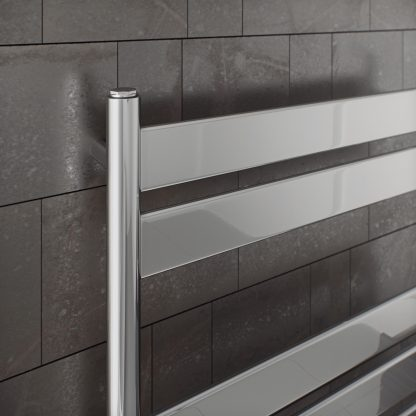 Eucotherm Tower PRIME Flat Panel Modern Heated Towel Rail / Warmer, Chrome - Central Heating