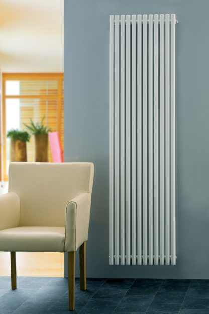 Eucotherm Supra Hollow Round Tube Modern Designer Vertical Radiator, Tall - Central Heating