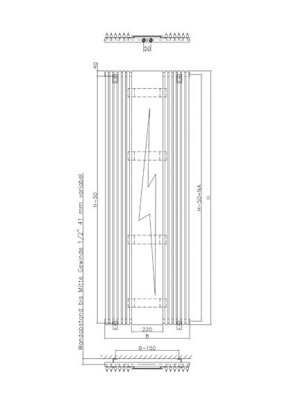 Eucotherm Chorus Radiator, Triangle Tube, Modern, Vertical , Tall - Central Heating
