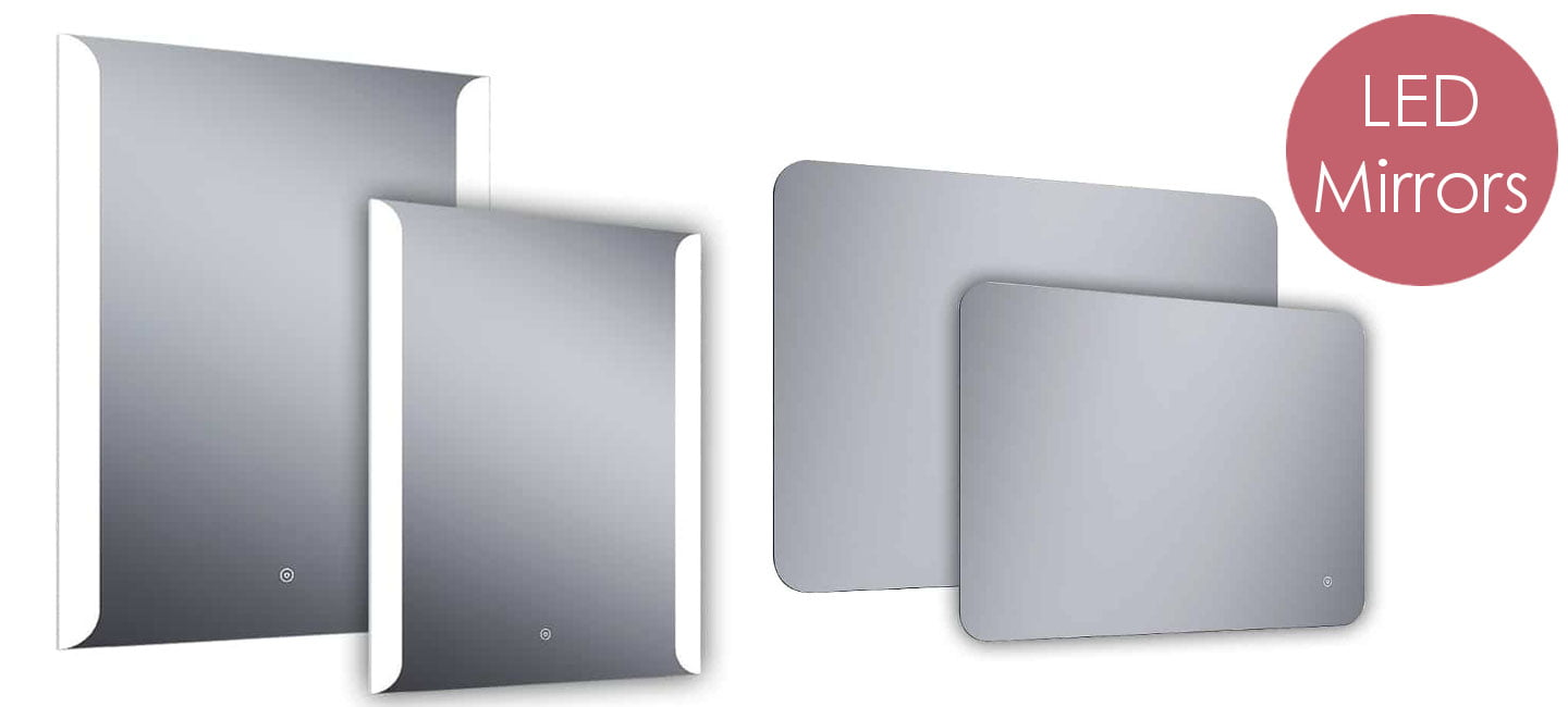 Bathroom LED Mirrors - Wall Mounted, Splash Proof. Features include Bluetooth Speaker, Demister, Shaver Socket, Touch Sensor
