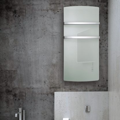 Radialight Deva, Electric Bathroom Heater + Heated Towel Rail (Glass Front)