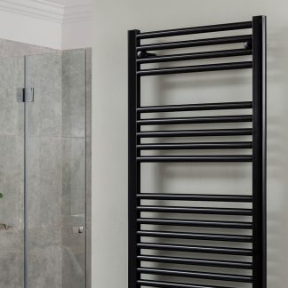 500mm x 800mm Electric Heated Towel Rail, Straight Black, Prefilled IP64