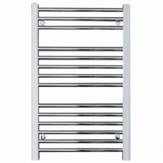 Aura 25 Black Straight Heated Towel Rail / Bathroom Radiator - Electric, Thermostat + Timer
